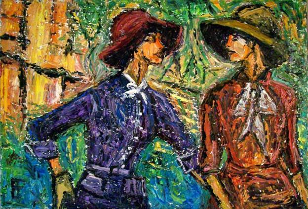 "Brian Forrest ""Women Wearing Hats"" oil on canvas"