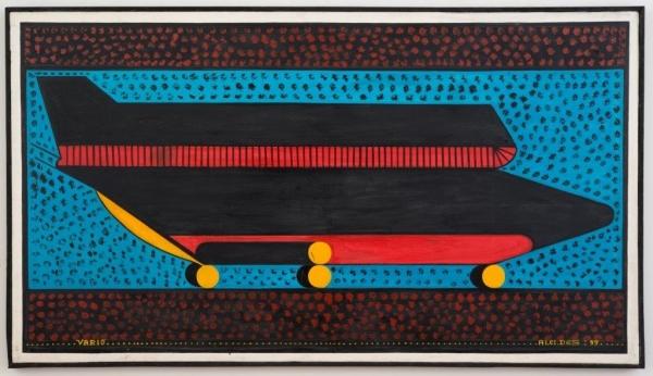ALCIDES PEREIRA DOS SANTOS Varig, 1999 Acrylic on canvas, 34.25 x 75.98 inches (87 x 193 cm), Andrew Edlin Gallery